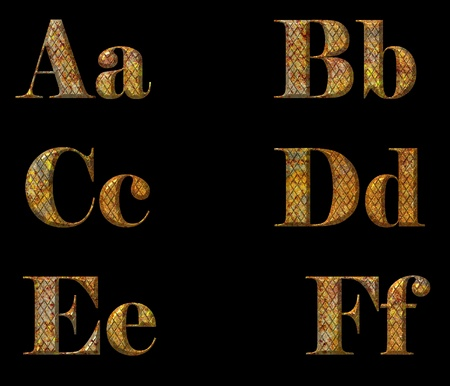 rusty metal font, isolated on black background
