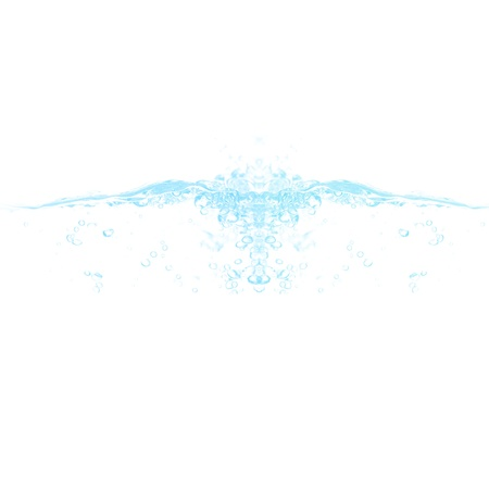Bubbles in water flowing isolated over white - blue hue