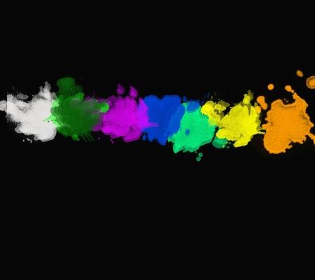 Illustration of line color paint splashes on black background illustration