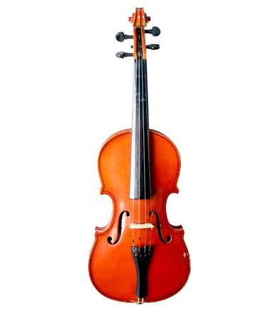 violines: Violín y arco de violín de fondo aislado Foto de archivo
