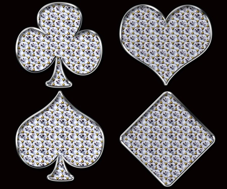 Diamond shaped Card Suits with golden framing over black background  photo