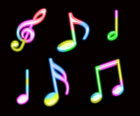 neon colorful music notes Stock Photo