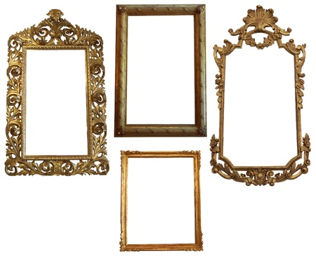 Vintage Detailed Gold Empty Oval and Square Picure Frames Stock Photo
