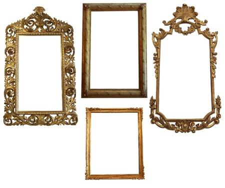 Vintage Gedetailleerde Gold Lege ovaal en vierkant picure Frames