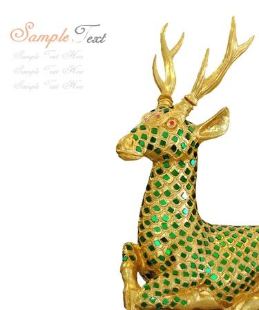 golden deer isolated on white background