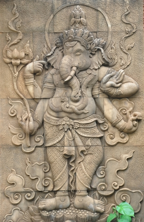 krishna: Classi stenen beeld van de Indiase god Ganesh