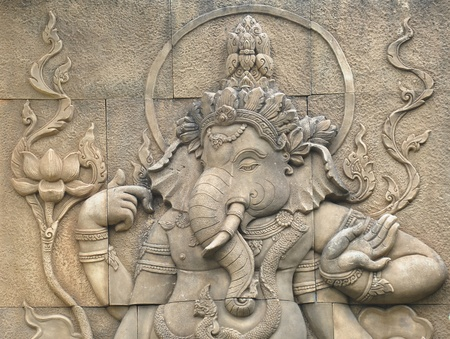 hinduism: stone sculpture of indian god ganesh