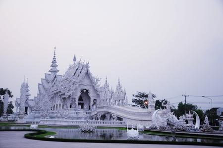 White temple wat Rong Khun in Chiang Rai, Thailand Stock Photo