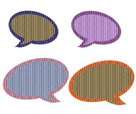 Pastel colors recycled textured paper speech bubbles, isolated on white background  Stock Photo