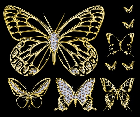 An illustration of an ornamental golden butterfly studded with diamonds on a black background