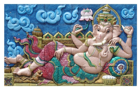 The image of Ganesha with bright colors, the healing, Thailand