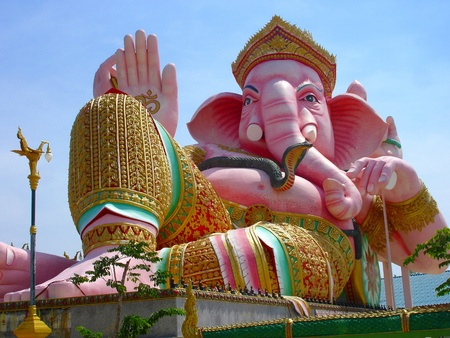 pink ganesha largest statue in Thailand photo