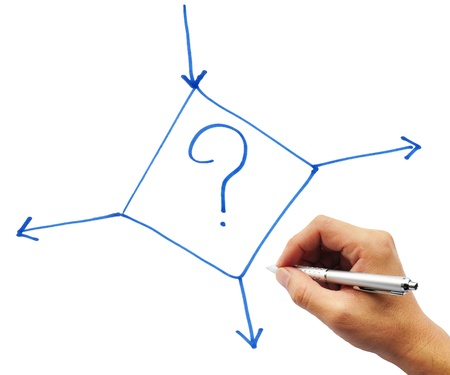 Decision making hand on white background