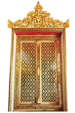 Golden Wood Carving ,Traditional Thai Style at the window of church in Thai Temple Stock Photo - 13413131