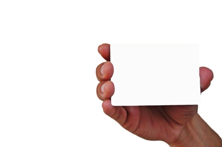 Business card in male hand  Studio isolated   photo