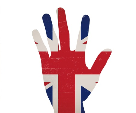 Hand in colored United Kingdomnational flag as symbol of excellence, photo