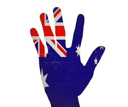 Low key picture of a fist painted in colors of united kingdom flag  photo