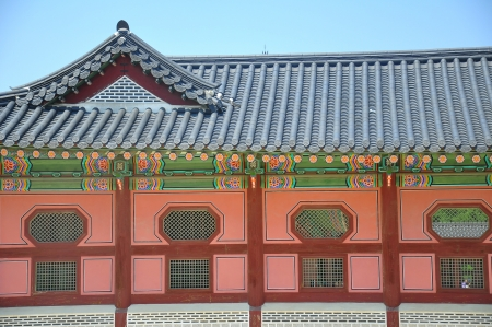 Detail of painted wooden temple in seoul south korea Stock Photo - 14397175