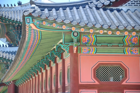 Detail of painted wooden temple in seoul south korea Stock Photo - 14397176