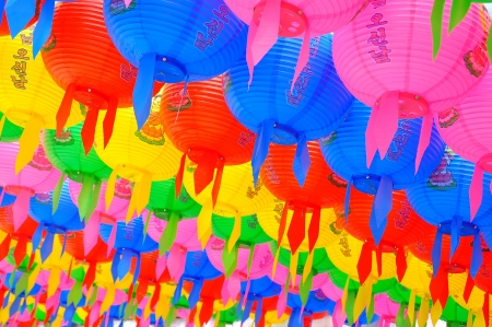Colorful lanterns background at wowoojongsa Temple Seoul Korea Stock Photo - 14475497