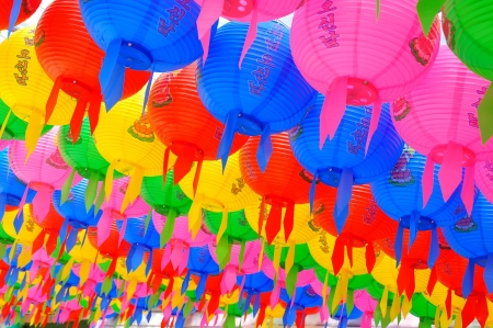 Colorful lanterns background at wowoojongsa Temple Seoul Korea Stock Photo - 14475499