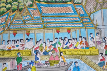 Thai art painting image on the wall in the temple