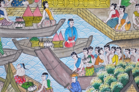 Thai art painting image on the wall in the temple Stock Photo - 15176916