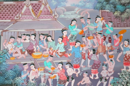 Traditional Thai painting art about buddist story on temple wall in Wat  Stock Photo