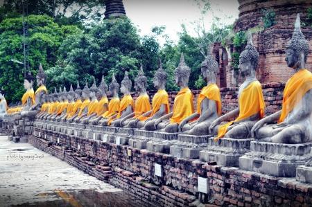 ayuttaya: Buddha statue in Wat Yai Chai Mongkol- Ayuttaya of Thailand Stock Photo