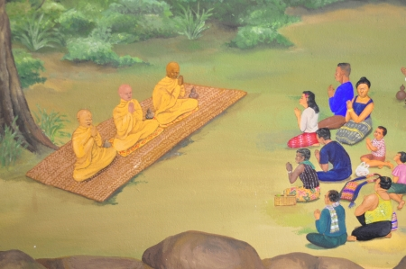 Colorful of thai art in museum wall painting