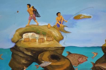 painting wall: Colorido del arte tailand�s en la pintura mural museo