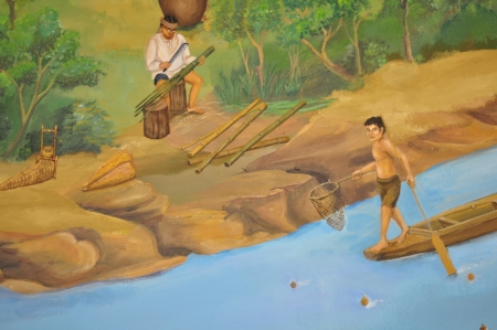 wall painting: Colorful of thai art in museum wall painting
