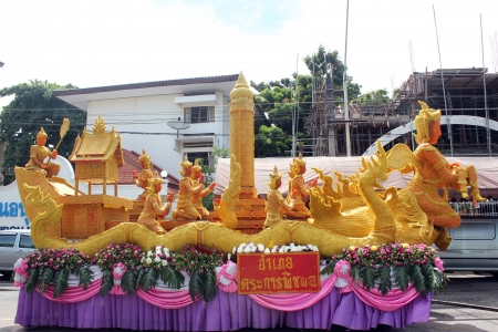 THAILAND - AUGUST 27: Thai candle festival on August 27, 2013 in Ubon Ratchathani, Thailand Editorial