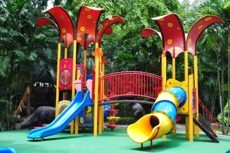a colourful children playground equipment  photo