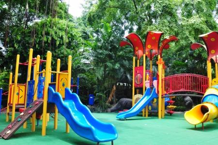 a colourful children playground equipment  Stock Photo
