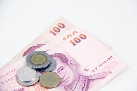 Money thai bath on white background Stock Photo