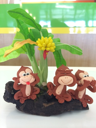 Set of monkey molded from clay