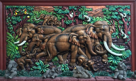 The image of elephat  with bright colors the healing Thailand