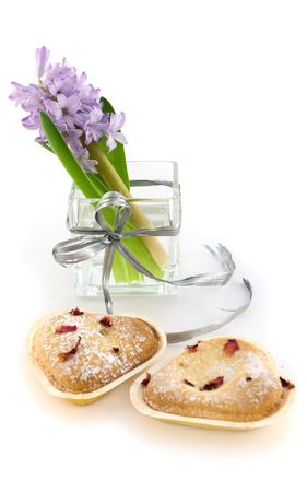 hyacinthus: Hyacinthus in glass vase with cookies Stock Photo