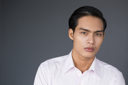 Portrait of serious young Asian businessman looking at camera Stock Photo