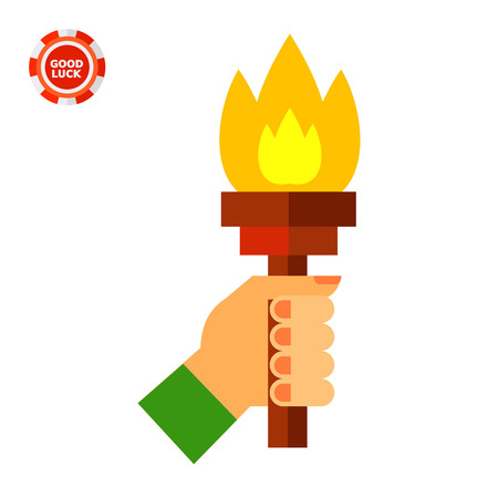 guidance: Hand holding fire torch. Idea, guidance, goal, inspiration. Solution concept. Can be used for topics like business, management, marketing, consulting. Illustration