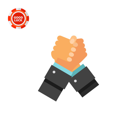 confrontation: Two arm-wrestling hands. Handshake, competition, confrontation. Struggle concept. Can be used for topics like business, management, finance, consulting, banking. Illustration