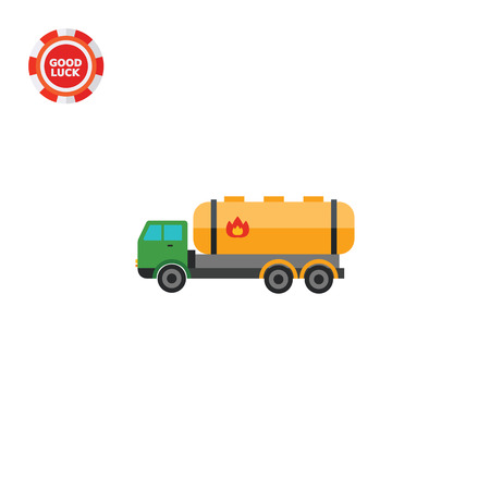combustible: Truck with combustible sign. Transportation, dangerous, cistern. Truck concept. Can be used for topics like transport, delivery, business.