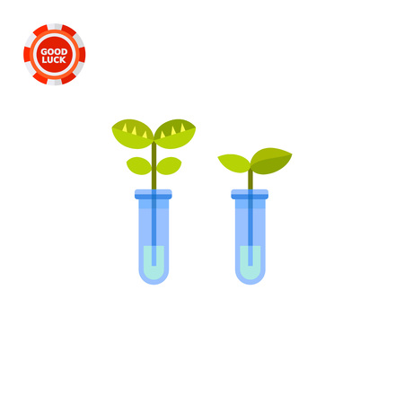 bioscience: Two flasks with sprouts. Biotechnology, plants, growing, science. Biotechnology concept. Can be used for topics like technology, science, knowledge Illustration
