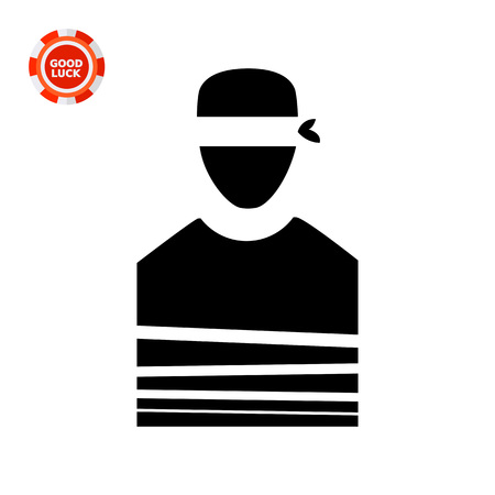 immobile: Tied person with blindfold. Danger, terror, violence. Victim concept. Can be used for topics like terrorism, war, kidnapping.