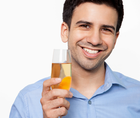 professional flute: Portrait of cheerful man at office party
