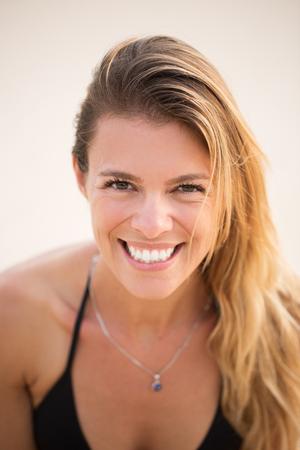 Portrait of happy beautiful woman on vacation Stock Photo