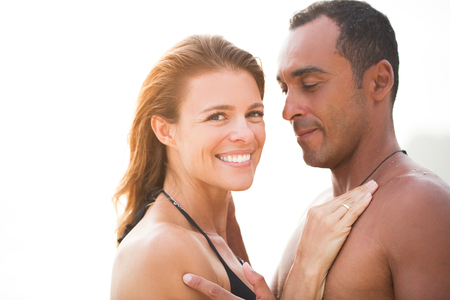 mixed marriage: Beautiful woman happy to be with her boyfriend Stock Photo