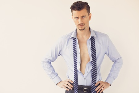 Disappointed Business Man in Unbuttoned Shirt