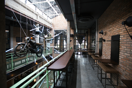 Pub Interior With Motorcycle Installation Stock Photo